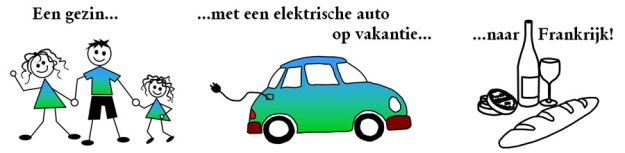 Een gezin, met een elektrische auto op vakantie naat Frankrijk!
