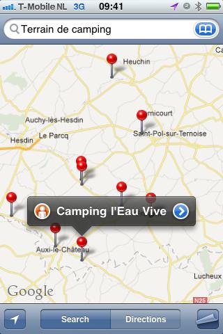 Campings op de iPhone